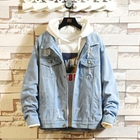 2019New Top Quality pure cotton Denim Jackets Men Cowboy Slim Fit Bomber Jacket Men's Jean Jacket Hip Hop Print Coats size S 5XL