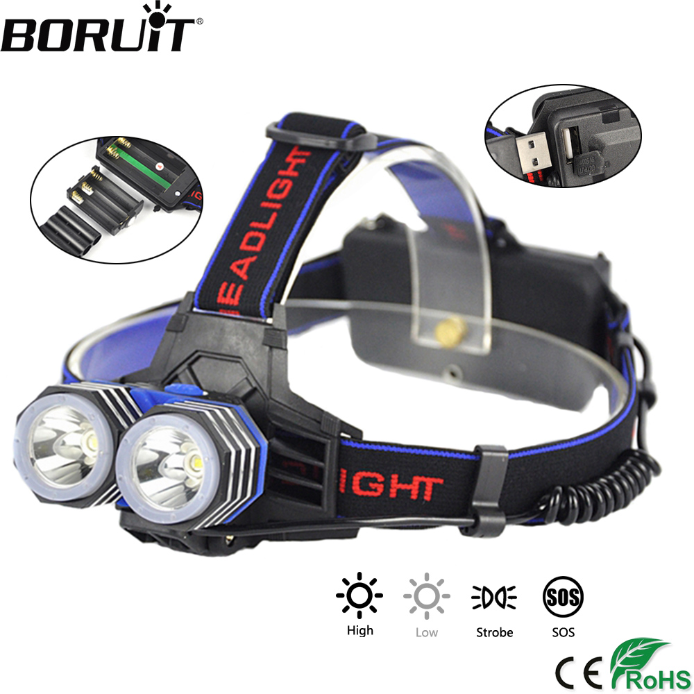 BORUiT 2000LM XML-T6 LED Headlamp 4-Mode Headlight Power Bank Flashlight Rechargeable Head Torch Camping Lantern 18650 battery 5000 lumens led headlamp xml t6 l2 led headlight lantern 4 mode waterproof head flashlight torch 18650 rechargeable battery