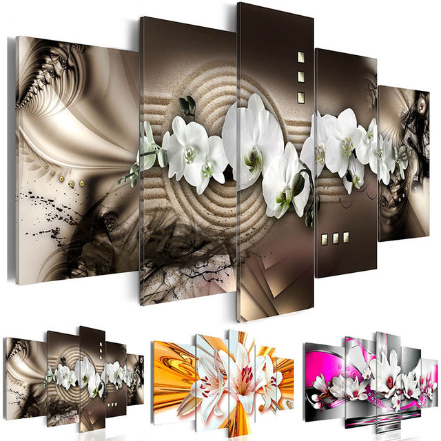 Modern Canvas Painting 5 Panels Wall Art Abstract Diamond Orchid Flower Decoration