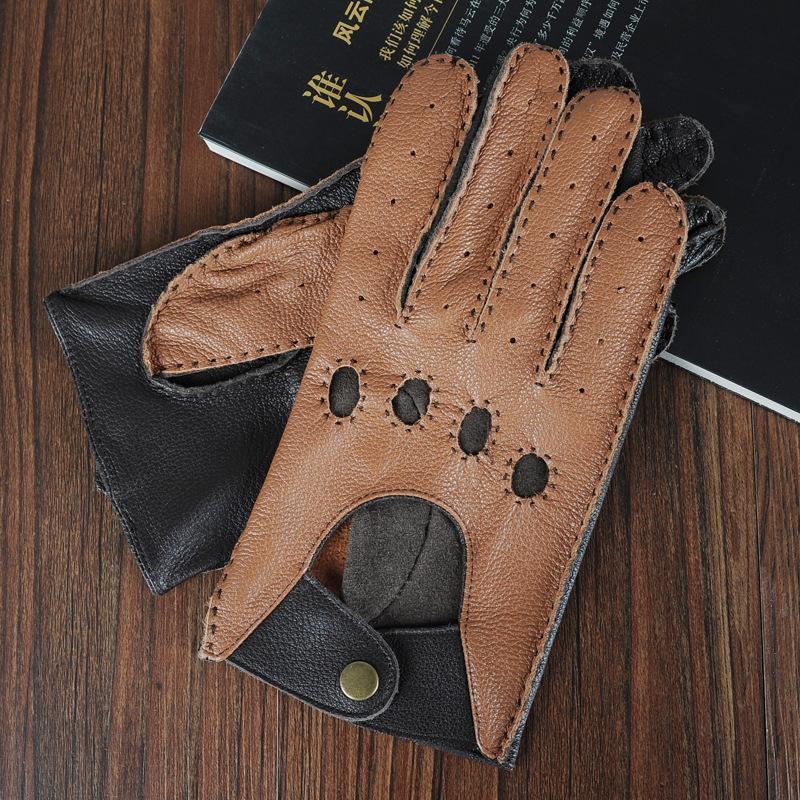 New Arrival Spring Men's Genuine Leather Gloves High Quality Fashion Driving Unlined Goatskin Finger Gloves Free Shipping