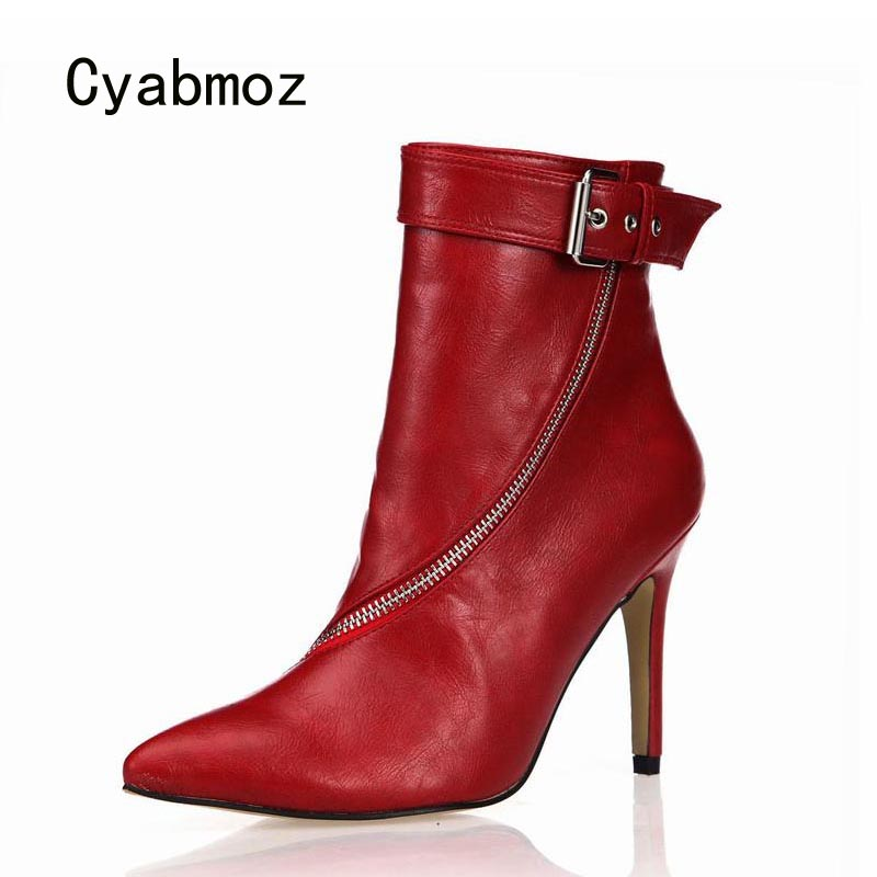 Cyabmoz High Heels Women Ankle Winter Boots Shoes Woman Pointed Toe Buckle Zip Party Dress Shoes Zapatillas Botas Zapatos Mujer
