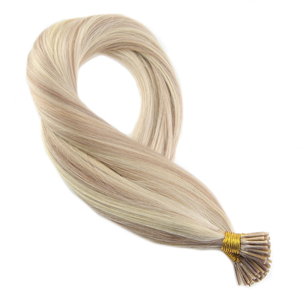 Moresoo I Tip Hair Extensions Ash Blonde #18 Highlighted With Bleach Blonde 613 50g 100 Real Remy I Tip Hair Extensions