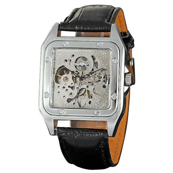 2017 Concise Fashion Men Automatic Mechanical Wrist Watches Top Brand Luxury WINNER Skeleton Watch Leather Strap Rectangle Case фантазер картина из ниток слон