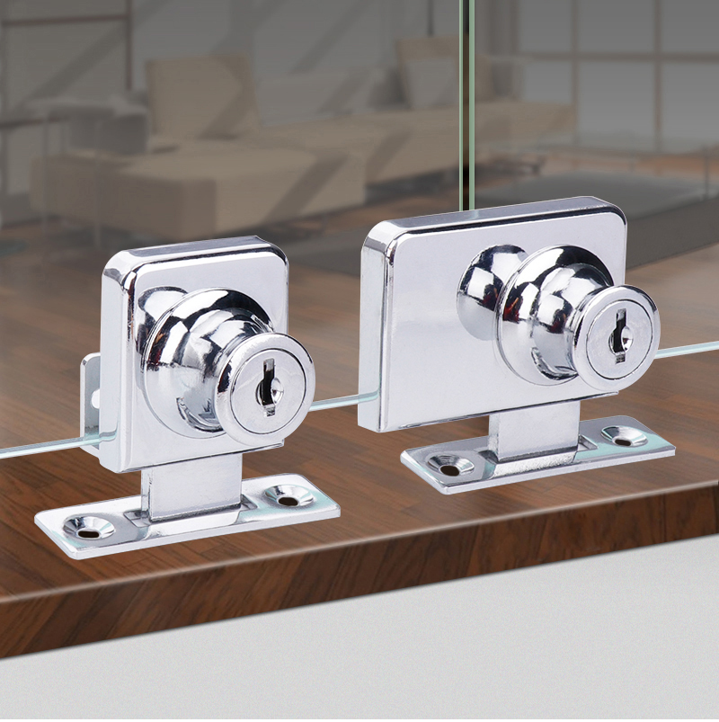 Myhomera Double Glass Lock Single Glass Locks Display Showcase Cabinet Door Zinc Alloy Cylinder Slid