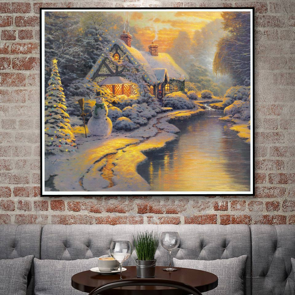 Thomas kinkade snow mountains waterfall sailboat art silk - Home interiors thomas kinkade prints ...