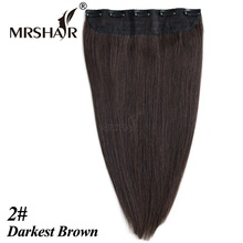 MRSHAIR 2# Human Hair Clip In Extensions 1pc 18″ 22inches One Piece Brazilian Human Hair Clip HairPiece Cabelo De Tic Tac