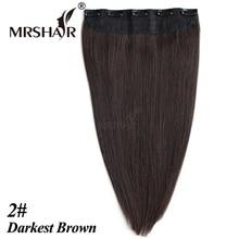 """Mrshair 2 # человеческих волос клип в расширениях 1 шт. 18 """"22 дюймов one piece Бразильский клип человеческого волоса парики Cabelo де Tic Tac"""