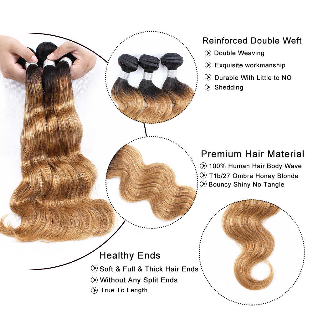 MOGUL волосы T 1B 27 Омбре мед блонд пучки с закрытием перуанские волнистые волосы Remy человеческие волосы 3/4 пучки с закрытием шнурка