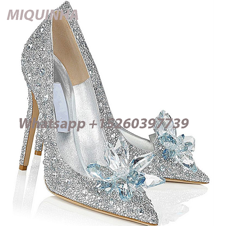New Hot Sliver Rhinestone Crystal Pointed Toe High Heels Fashion Women Pumps Stiletto Cinderella Party Women Wedding Shoes