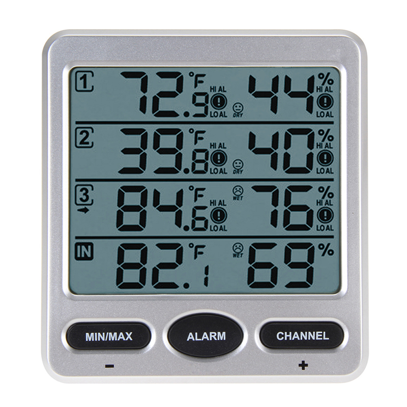Portbale LCD Digital 433MHz Wireless 8-Channel Indoor/Outdoor Thermo-hygrometer with Three Remote Sensors Thermometer Hygrometer dc102 mini 3 lcd digital thermometer hygrometer white grey