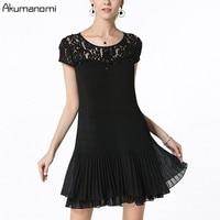 Dress Lace Patchwork Perspective Thin Pressure Plait Brief Fashion Black Summer Dress Plus Size 5XL 4XL XXXL XXL XL L M