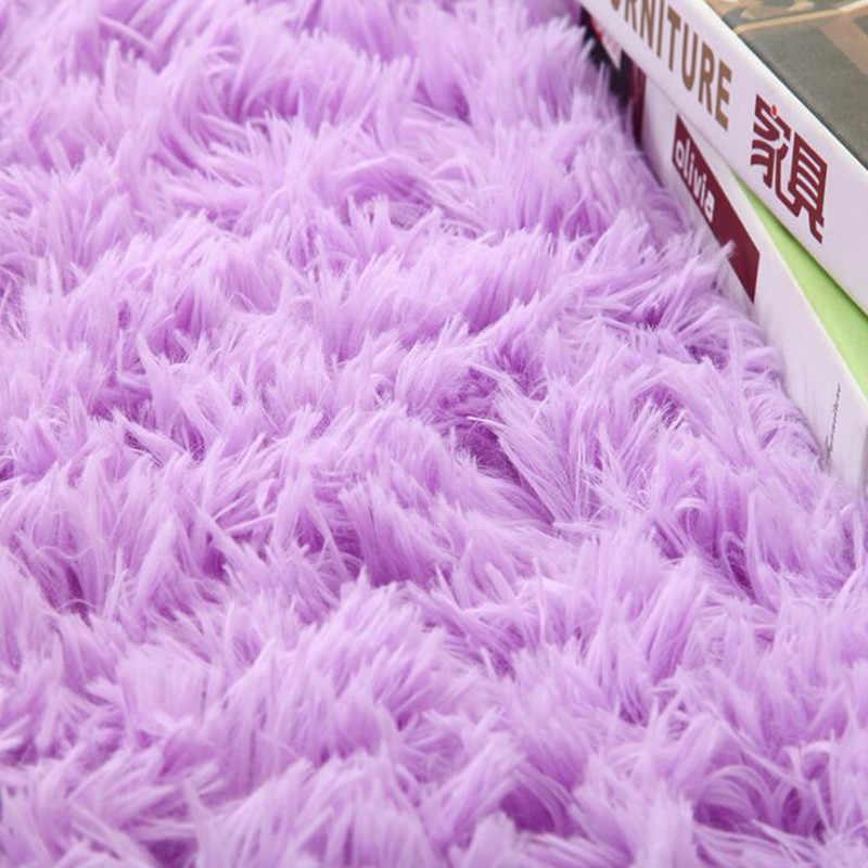 회색 푹신한 둥근 양탄자 카펫 거실 Kilim 가짜 모피 카펫 키즈 룸 침실 털 복 숭이 지역 깔개에 대 한 긴 봉 제 양탄자