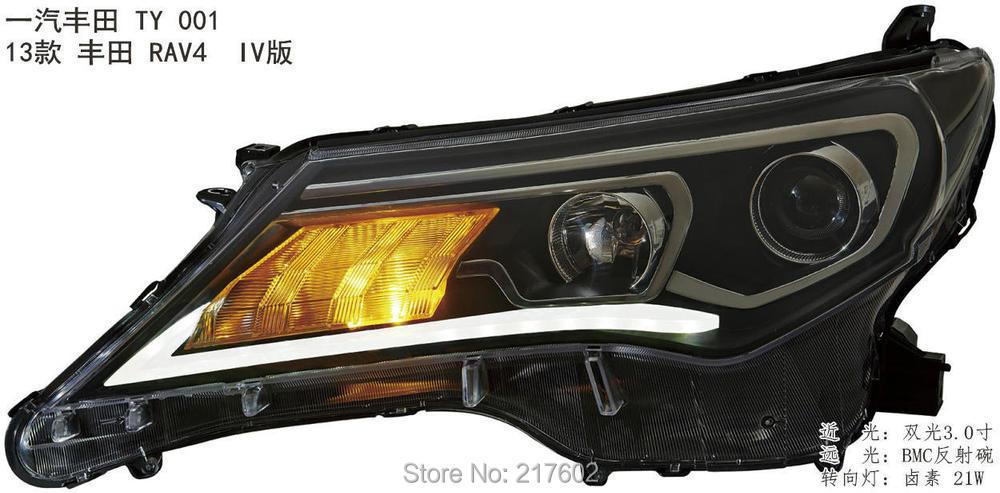 Phares avant auto style voiture pour Toyota RAV4 phares 2013-2015 an H7 hid projecteur bi-xénon lentille feux de croisement LD