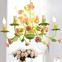 Modern Floral Chandelier Lamp Green Color Lustre Light Rose Flower Chandelier Light Fixture E14 LED Home Decoration Chandelier