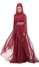 A Line Long Sleeve Modest Hijab Muslim Evening Dress Burgundy Chiffon Crystal Beaded Belt Long Formal Gown