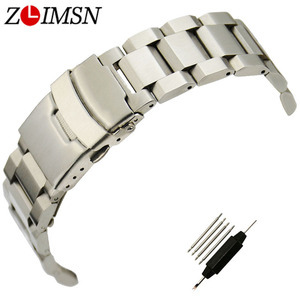 ZLIMSN 316L Stainless Steel Watchband Sport Bracelet Flat End Double Push Button Deployment Clasp Military Relogio 18 20 22 24mm
