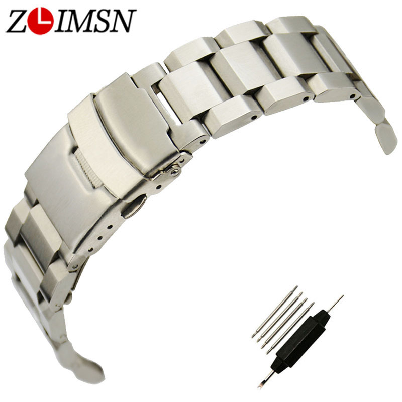ZLIMSN 316L Stainless Steel Watchband Sport Bracelet Flat End Double Push Button Deployment Clasp Military Relogio 18 20 22 24mm zlimsn silver bracelet solid stainless steel watchband 18 20 22 24mm luxury military metal band replacement relogio feminino s15
