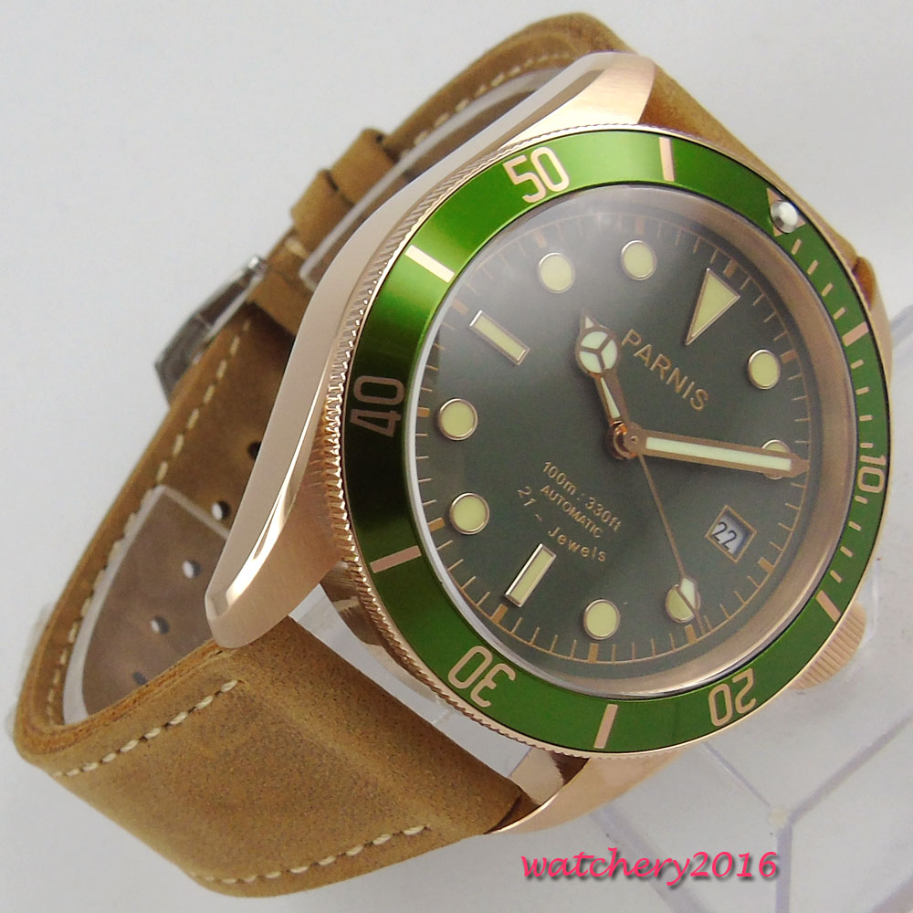 2018 New Fashion 41mm parnis Green Dial Sapphire Crystal Luminous Marks 21 jewels Miyota Automatic Mechanical men's Watch romantic sweet gifts 43mm parnis white dial luminous marks sapphire crystal 21 jewels miyota automatic mechanical men s watch