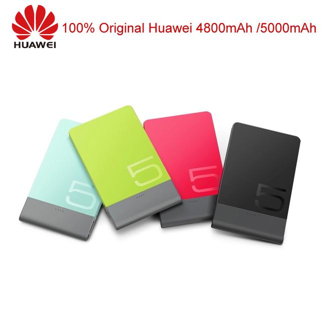 Original huawei banco de potência 4800 mah 5000 mah carregador portátil powerbank para iphone samsung note xiaomi bateria externa ultra fino