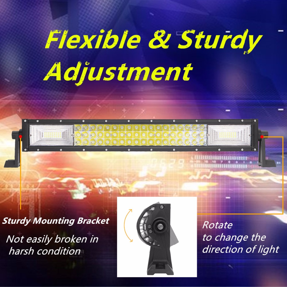 """Image 3 - 22"""" 42"""" 50"""" Inch 3 Row LED Light Bar Straight LED Work Light Barra Offroad Combo Beam 4X4 4WD ATV SUV Boat Truck Trailer Camper-in Light Bar/Work Light from Automobiles & Motorcycles"""