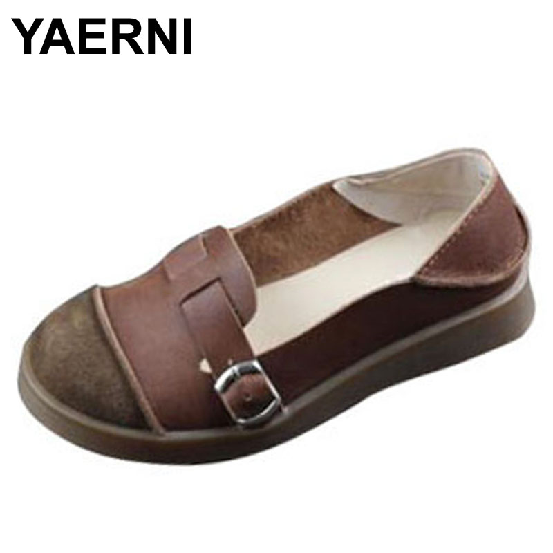 YAERNI Women's Shoes Flat Genuine Leather Slip on Loafers Woman Platform Shoes Round toe Rubber Sole Ladies Flat Shoes women round toe flower ladies beautiful flats shoes green fashion rubber sole applique loafers walking slip on embellished 2017