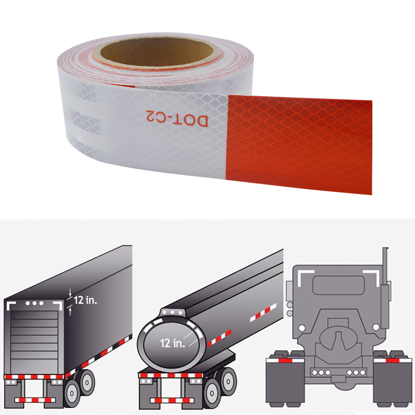 Купить с кэшбэком 50mm X 10m DOT Reflective Tape - Red and White - DOT-C2 Conspiciuity Tape - COMMERCIAL ROLL