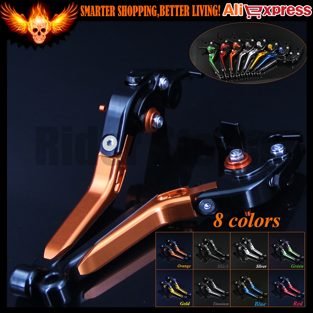 Orange+Black 8 Colors New CNC Adjustable Folding Extendable Motorcycle Brake Clutch Levers For KTM 690 Enduro R 2014 2015 2016 new brand 8 colors optional brake lever black folding