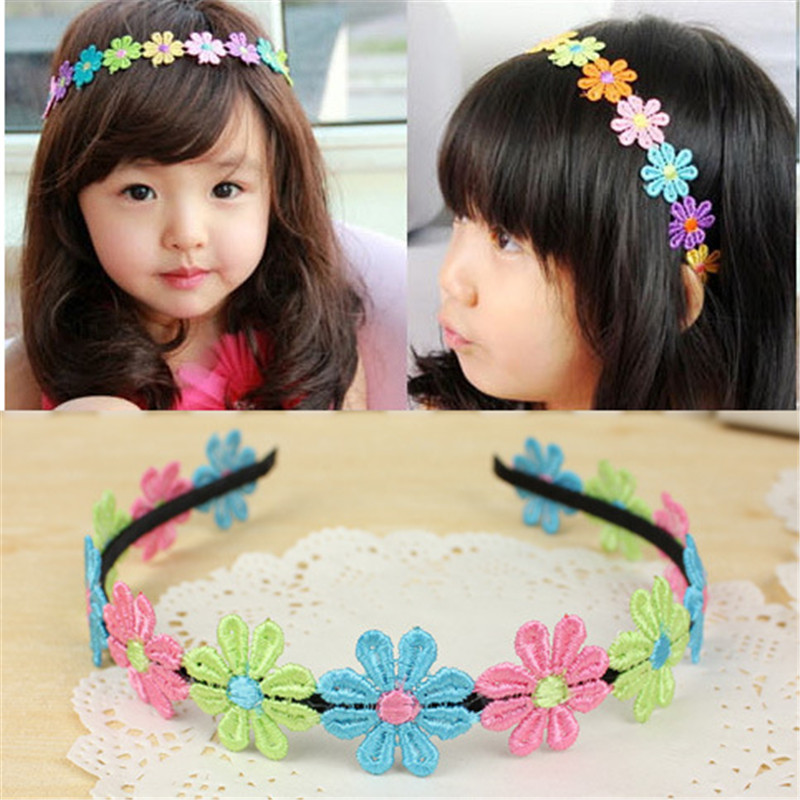 2017 Sale 2Pcs Children Flower Headband Colorful Princess Elegant Cloth Head Bands For Baby Girls Hairbands Hair Accessories 2016 sale new arrival headband korean flower cartoon girls elastic hair bands accessories rope ties princess gift 6 pcs