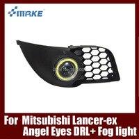 Туман сборки лампы светодиодный дневной свет удара Ангельские глазки Foglight Daytime Бег свет объектив бампера для Mitsubishi Lancer 2008 2010