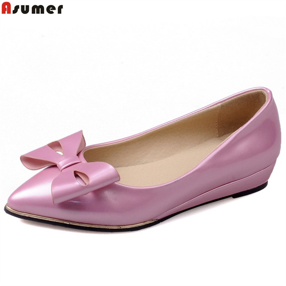 ASUMER black white pink fashion spring autumn ladies single shoes pointed toe shallow casual women low heels shoes big size memunia 2017 fashion flock spring autumn single shoes women flats shoes solid pointed toe college style big size 34 47