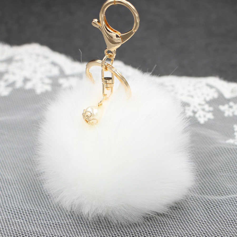 Big Faux Pérola Bola de Pêlo de Coelho Bolsa Chaveiro Anel Clef Porte de Pelúcia Artificial Fur PomPom Chaveiro Ornamento Pom Pom pingente