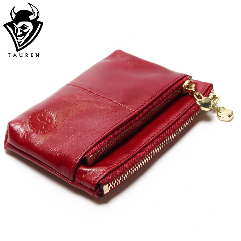 New TAUREN High Quality Genuine Leather Women Mini Wallet Oil Wax Leather Coin Purse Coin Credit Card Holder With Metal Ring