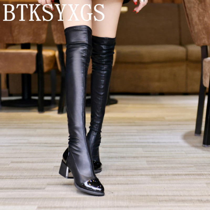 2017 new women's Sexy over the knee long boots ladies fashion High elastic Women thigh high snow boots Woman winter shoes female avvvxbw 2016 new brand long boots fashion elastic over the knee boots shoes woman square heel genuine leather thigh high boots