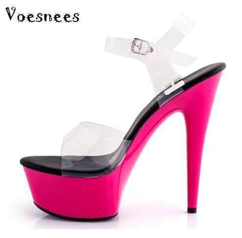 010cb03a Sandalias Zapatos Mujer plataforma impermeable cristal transparente alto  heels15cm zapatos de novia de boda zapatos de
