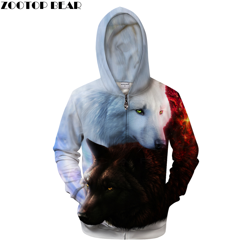 3D Unisex Zip UP Wolf Hoodies Brand Hooded Zipper Sweatshirts Men Hoodie Fashion Tracksuits Funny Novelty Streetwear ZOOTOP BEAR