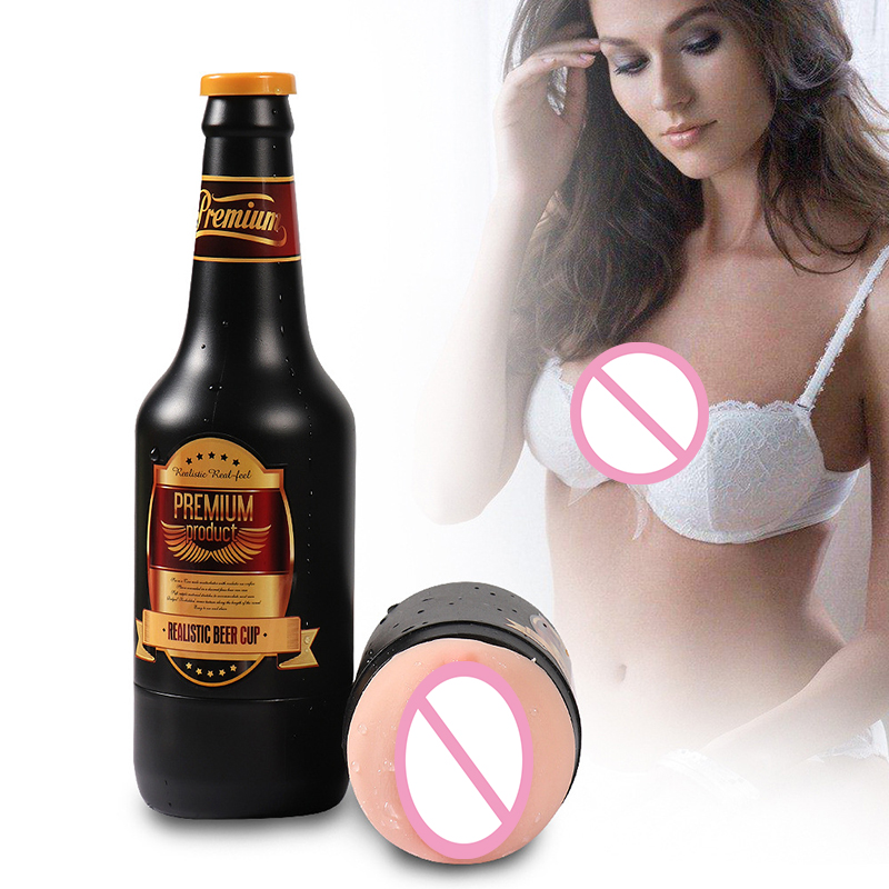 Realistic Vagina Male Masturbator Beer Bottle Silicone Pocket Pussy Adult Masturbation Aircraft Cup Men Erotic Sex Toy For Man