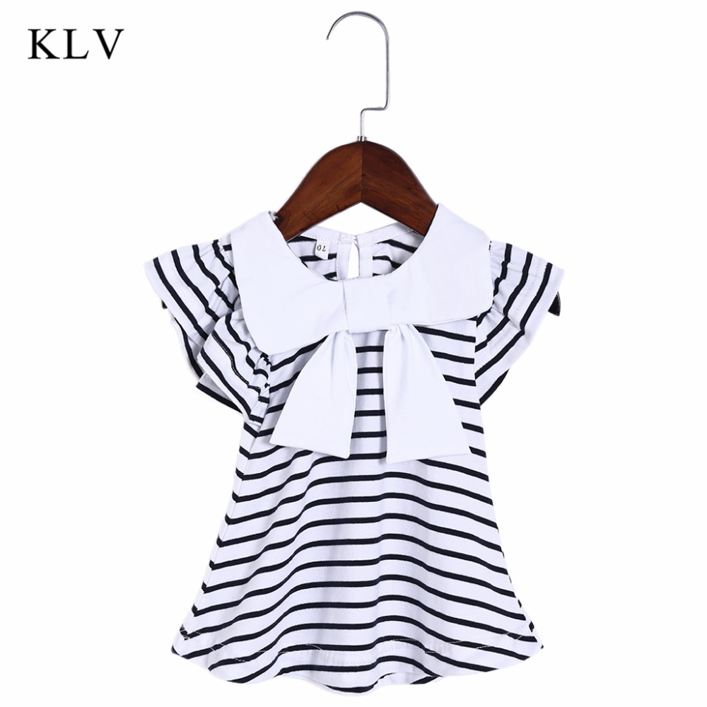 KLV 0-18M Baby Girl Dress Baby Girl Summer Cotton Striped Bow Dress Infant Clothing 1 Year Dress for Girls