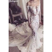 Chengjun Off Shoulder Long Sleeve Mermaid Wedding Dresses