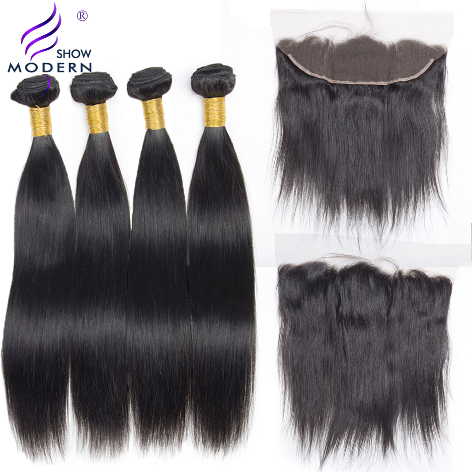 4 Pcs Malaysian Straight Human Hair Bundles With Closure Modern Show Lace Frontal Closure Pre Plucked With Baby Hair None Remy