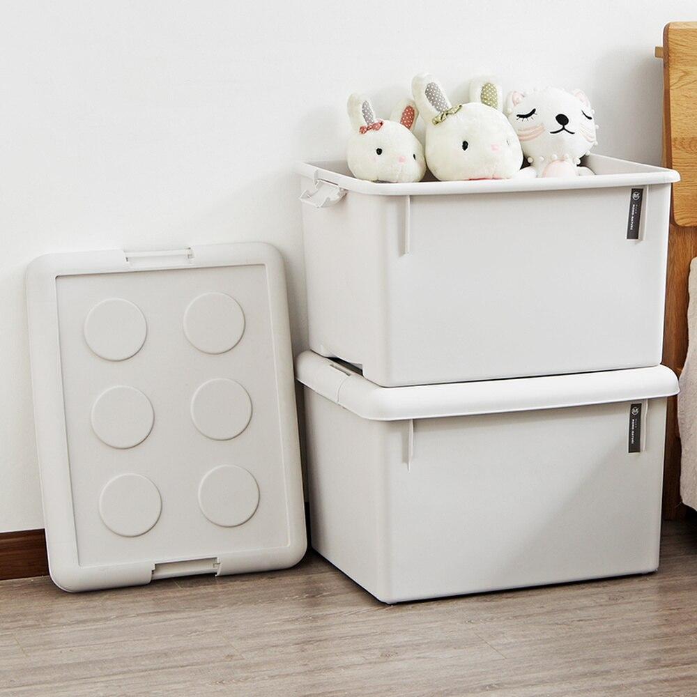 Grande boîte de rangement en plastique épaissi avec housse vêtements couette boîte de rangement jouet boîte de finition wx10240933