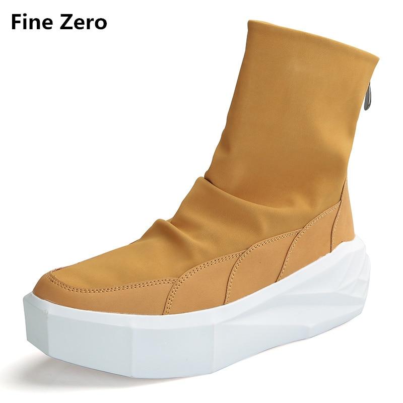 Fine Zero Owen Men 4cm Height Increasing Platform Boots Back Zip Leather Shoes Male Mixed Colors