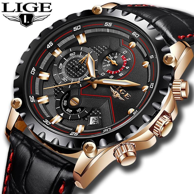 LIGE Marca Moda Relógios Dos Homens Do Esporte dos homens À Prova D' Água Relógio de Quartzo Homem De Couro Relógio de Pulso Militar relógios Relogio masculino