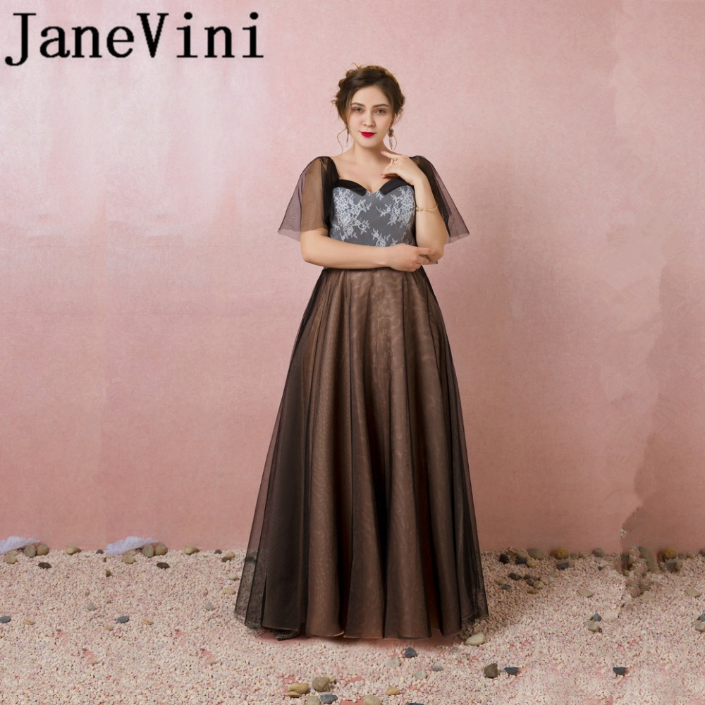 b47b1c6cece JaneVini элегантные длинные плюс Размеры мать невесты платья с кружевом  длиной до пола-Длина спинки