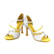 YOVE Dance Shoe Leather Women's Latin/ Salsa Dance Shoes 3.5″ Flare High Heel More Color w153-12