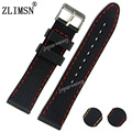 ZLIMSN 22mm 24mm Men Watchbands Orange Red Stitch Black Waterproof Silicone Rubber Watch band Strap Relojes Hombre 2017