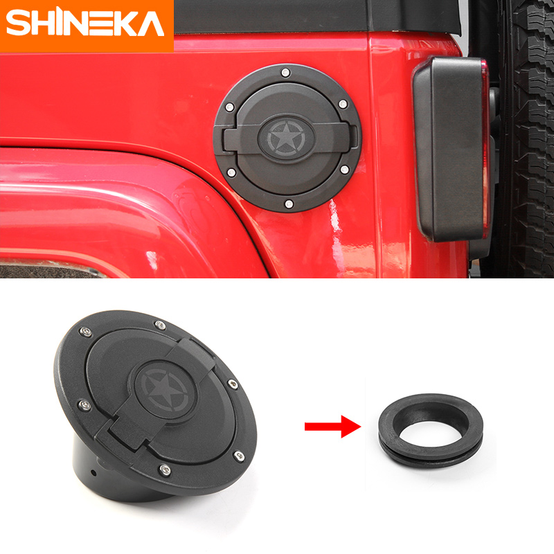 SHINEKA Zinc Alloy + ABS Base Star Skull USA Flag Fuel Filler Cover Gas Tank Cap 2/4 Door For Jeep Wrangler JK 07-16 nitro triple chrome plated abs mirror 4 door handle cover combo