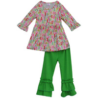 Colorful Christmas Tree Print Tees Children Clothing Sets Boutique Top and Pants Baby Girls Ruffle Outfits C004