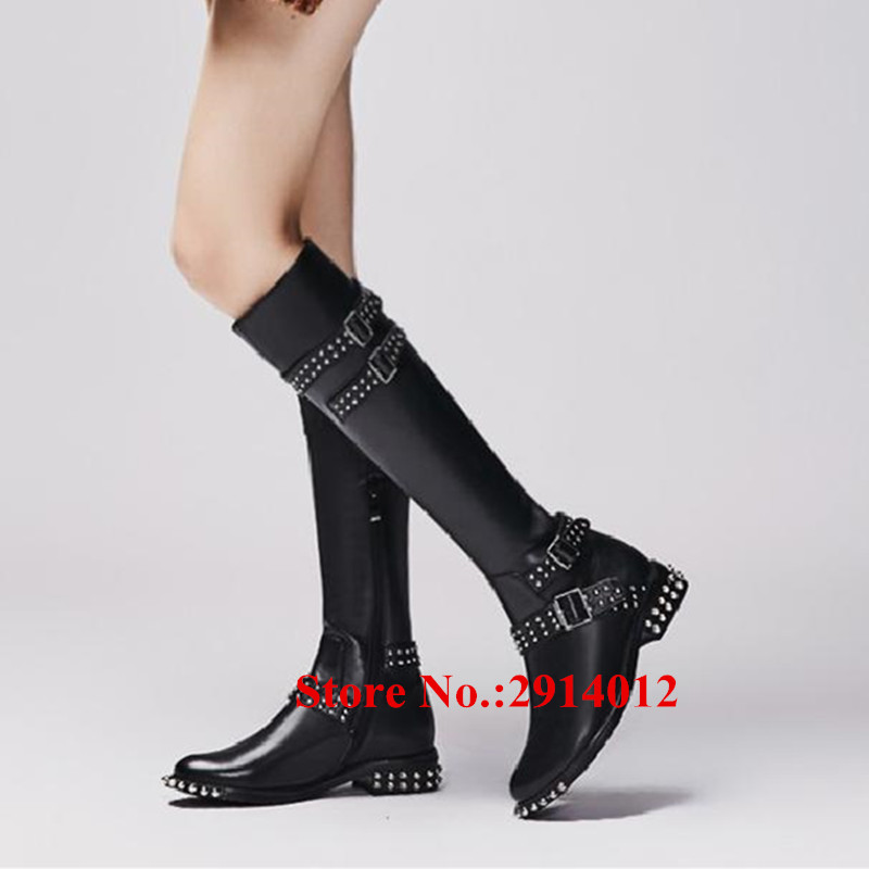 41d133dc82e Knight Boots Black Leather Belt Buckle Spikes Studded Knee High Women Long  Boots Side Zip Flats Botas Mujer Women Shoes Woman-in Knee-High Boots from  Shoes ...