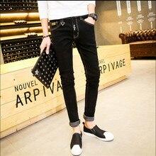 Mens Stretched Cotton Denim Slim Pants Biker Jeans Male Fashion Denim Cargo Pants Classic Jeans Casual Pants Plus Size 28-34