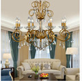 Free Shipping Art Decorative Vintage Style Chandelier Light Lustres Home Chandelier Golden and Silver Color AC Candle Chandelier